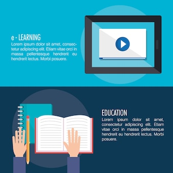 Electronic education with tablet vector illustration design