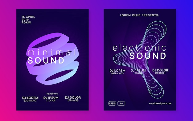 Электронное мероприятие. набор приглашений коммерческой дискотеки. динамический градиент формы и линии. неоновое электронное мероприятие. электро танцевальный диджей. звук транса