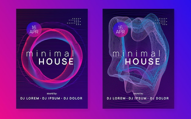 Electronic event. digital discotheque cover set. dynamic gradient shape and line. neon electronic event. electro dance dj. trance sound. club fest poster. techno music party flyer.
