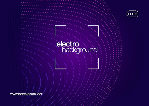 Электронное мероприятие. динамическая плавная форма и линия. концепция цифрового концертного баннера. неоновое электронное мероприятие. электро танцевальный диджей. звук транса. афиша клубного фестиваля. флаер для вечеринки в стиле техно.