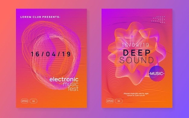 Electronic event. dynamic gradient shape and line. futuristic discotheque cover set. neon electronic event. electro dance dj. trance sound. club fest poster. techno music party flyer.