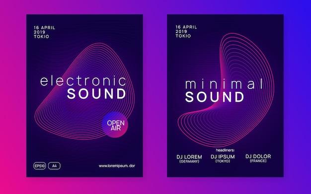電子フェスト。抽象コンサートマガジンセット。動的なグラデーションの形状と線。ネオン電子フェストチラシ。エレクトロダンスミュージック。トランスサウンド。クラブイベントのポスター。テクノdjパーティー。