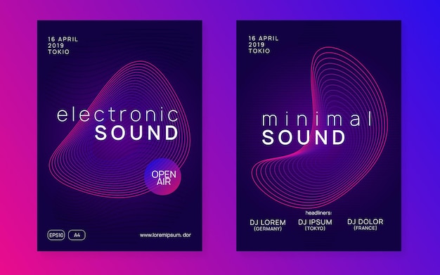 Electronic fest. abstract concert magazine set. dynamic gradient shape and line. neon electronic fest flyer. electro dance music. trance sound. club event poster. techno dj party.