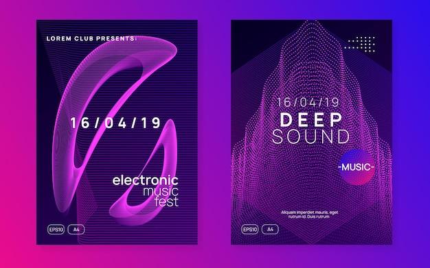 Электронный фестиваль. набор приглашений футуристический концерт. динамическая плавная форма и линия. неоновый электронный флаер фестиваля. электро танцевальная музыка
