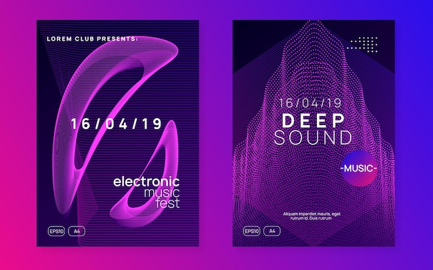 Electronic fest. futuristic concert invitation set. dynamic fluid shape and line. neon electronic fest flyer. electro dance music