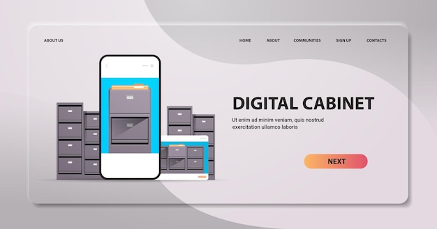 Electronic file archives digital cabinet on smartphone screen organization service
