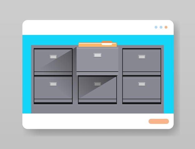 Electronic file archives digital cabinet in web browser window organization service