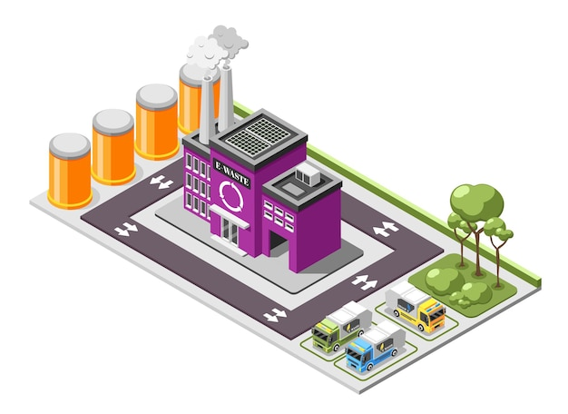 Electronic garbage isometric composition with e-waste recycling plant area with rubbish trucks on parking lot illustration