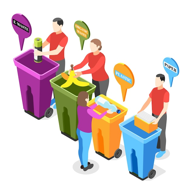 Composizione isometrica nell'immondizia elettronica con personaggi umani che mettono vari tipi di rifiuti in un'illustrazione separata dei bidoni della spazzatura