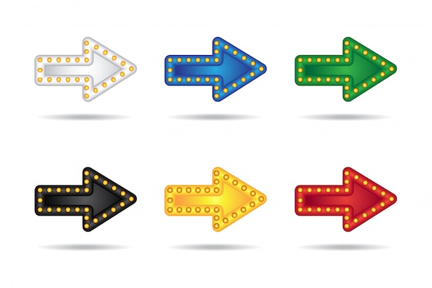 Electronic glowing neon arrows set with lamps. bar, party or holiday pointer.