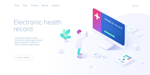 等尺性の電子健康記録の概念。男性医師またはスマートフォンのehrデータベースを持つ医師。医療または医療患者のデータストレージシステム。 webバナーレイアウトテンプレート。