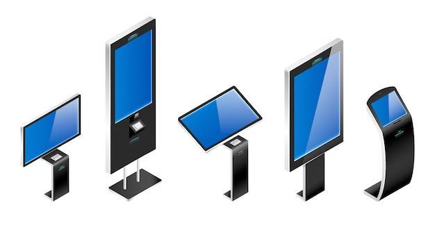 Электронные информационные доски реалистичные иллюстрации набор. цифровые киоски самообслуживания цветные объекты. интерактивные платежные автоматы с сенсорными дисплеями на белом фоне