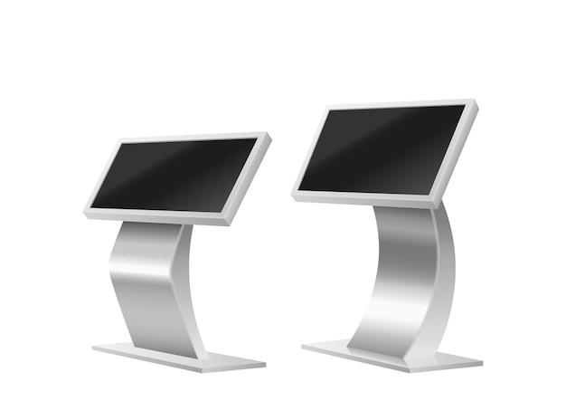 Реалистичный набор электронных информационных табло. цифровые киоски самостоятельного заказа интерактивные платежные машины с сенсорными дисплеями, изолированными на белом фоне. 3d векторные иллюстрации