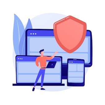 전자 보험 하드웨어. 디지털 보험사 웹 사이트, 반응 형 웹 디자인, 맬웨어 방지 소프트웨어. 가젯 보안 보장.