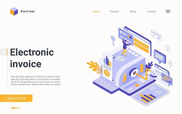 Electronic invoice bill finance technology isometric landing page online payment