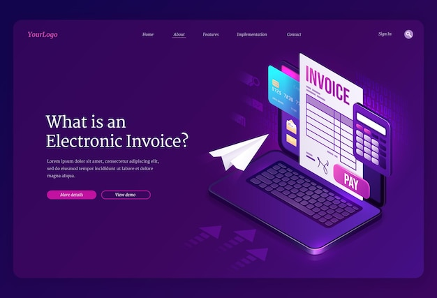 Electronic invoice isometric landing page.