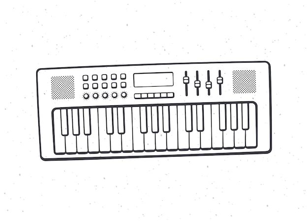 Electronic keyboard musical instrument synthesizer outline vector illustration