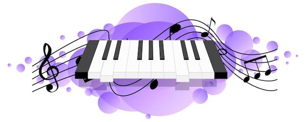Электронная клавиатура или электронный музыкальный инструмент с символами мелодии на фиолетовом пятне