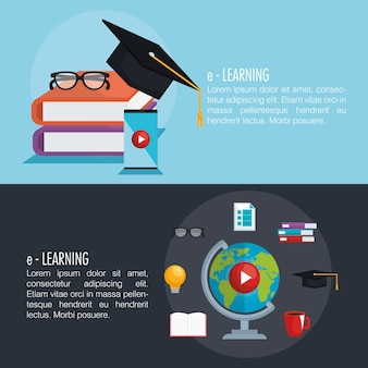 Electronic learning infographic technology