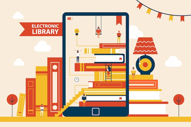 Electronic library promo poster with huge tablet
