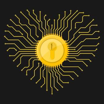 Electronic lock icon.  illustration