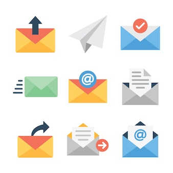 Electronic mail line icons pack