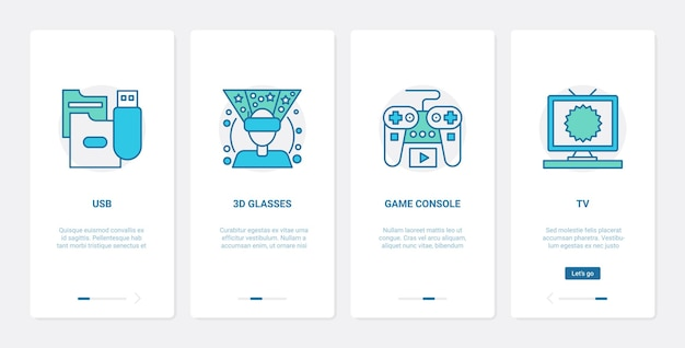 Electronic media devices entertainment ux ui onboarding mobile app page screen set