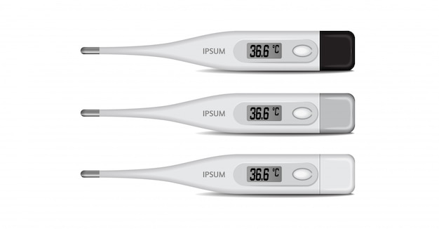 Electronic medical thermometer for measuring.   of digital  celsius thermometer showing temperature