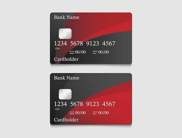 검정과 빨강의 전자 화폐 카드 디자인