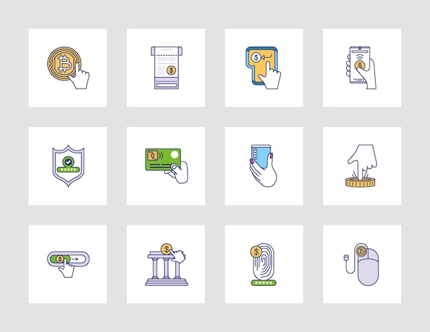 Electronic money and payment icons set