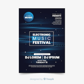 Electronic music abstract wave poster template