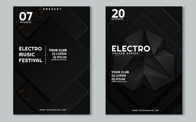 Electronic music fest and electro summer wave poster.