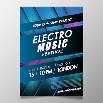 Electronic music festival and club party covers poster with abstract gradient lines