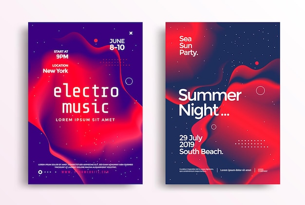 Electronic music festival poster in duotone cover design electro sound