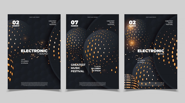 Electronic music poster design. vector template