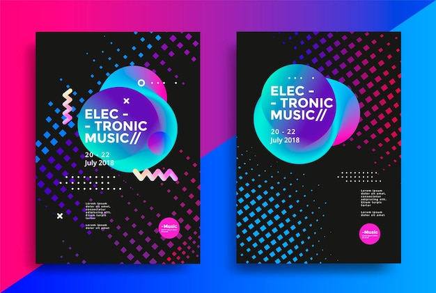 Electronic music poster design Premium Vector