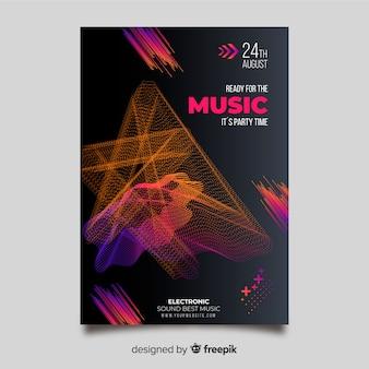 Modello di effetto glitch poster musica elettronica