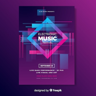 Electronic music poster with glitch effect template