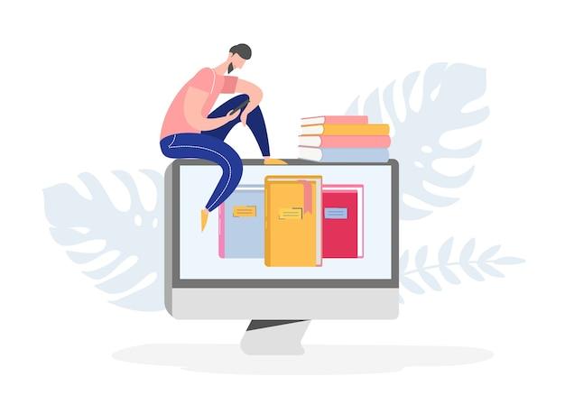 Плакат электронной онлайн-библиотеки с компьютером и книгами, люди, читающие персонажей или обучающиеся, читатель электронных книг, концепция поклонников современной литературы. плоский мультфильм