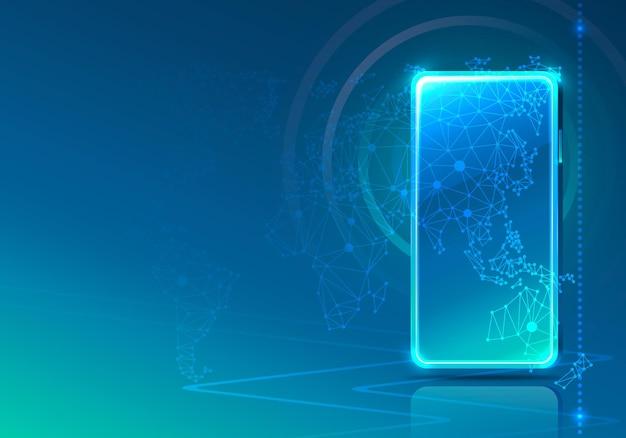 전자 온라인 전화 아이콘, 금융 기술, 파란색 배경.