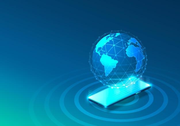 전자 온라인 전화 아이콘, 네트워크 기술, 파란색 배경.