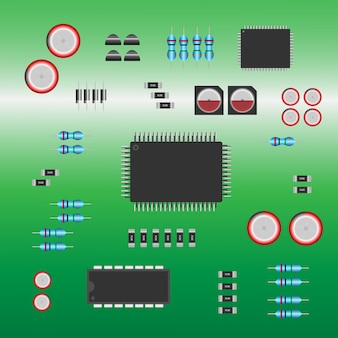 Electronic parts installed on electronics circuit board.