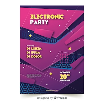 Electronic party abstract music poster template
