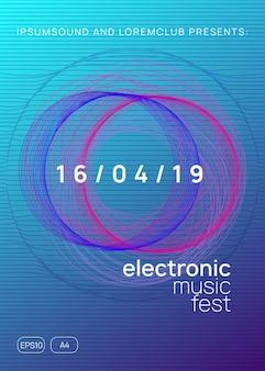 電子パーティー。動的なグラデーションの形状と線。現代のショーバナーテンプレート。ネオン電子パーティーチラシ。エレクトロダンスミュージック。テクノフェストイベント。トランスサウンド。クラブdjポスター。
