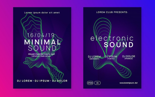 Electronic party. dynamic gradient shape and line. bright discotheque banner set. neon electronic party flyer. electro dance music. techno fest event. trance sound. club dj poster.