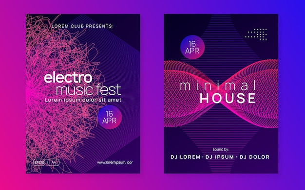 Electronic party. dynamic gradient shape and line. curvy discotheque brochure set. neon electronic party flyer. electro dance music. techno fest event. trance sound. club dj poster.