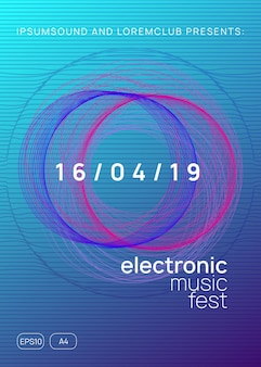 Electronic party. dynamic gradient shape and line. modern show banner template. neon electronic party flyer. electro dance music. techno fest event. trance sound. club dj poster.