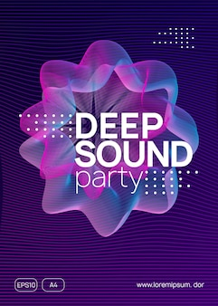 Electronic party. dynamic gradient shape and line. wavy discotheque brochure layout. neon electronic party flyer. electro dance music. techno fest event. trance sound. club dj poster.