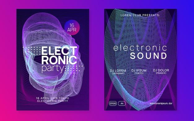 Электронная вечеринка. набор модных концертных приглашений. динамическая плавная форма и линия. неоновая электронная вечеринка. электро танцевальная музыка. техно фест мероприятие. звук транса. клуб dj плакат.