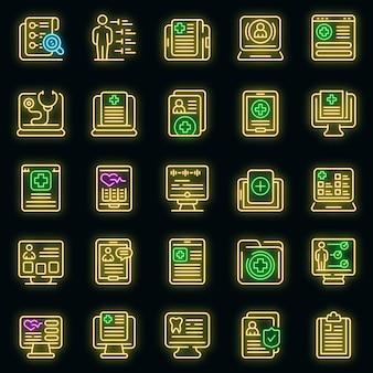 Electronic patient card icons set. outline set of electronic patient card vector icons neon color on black